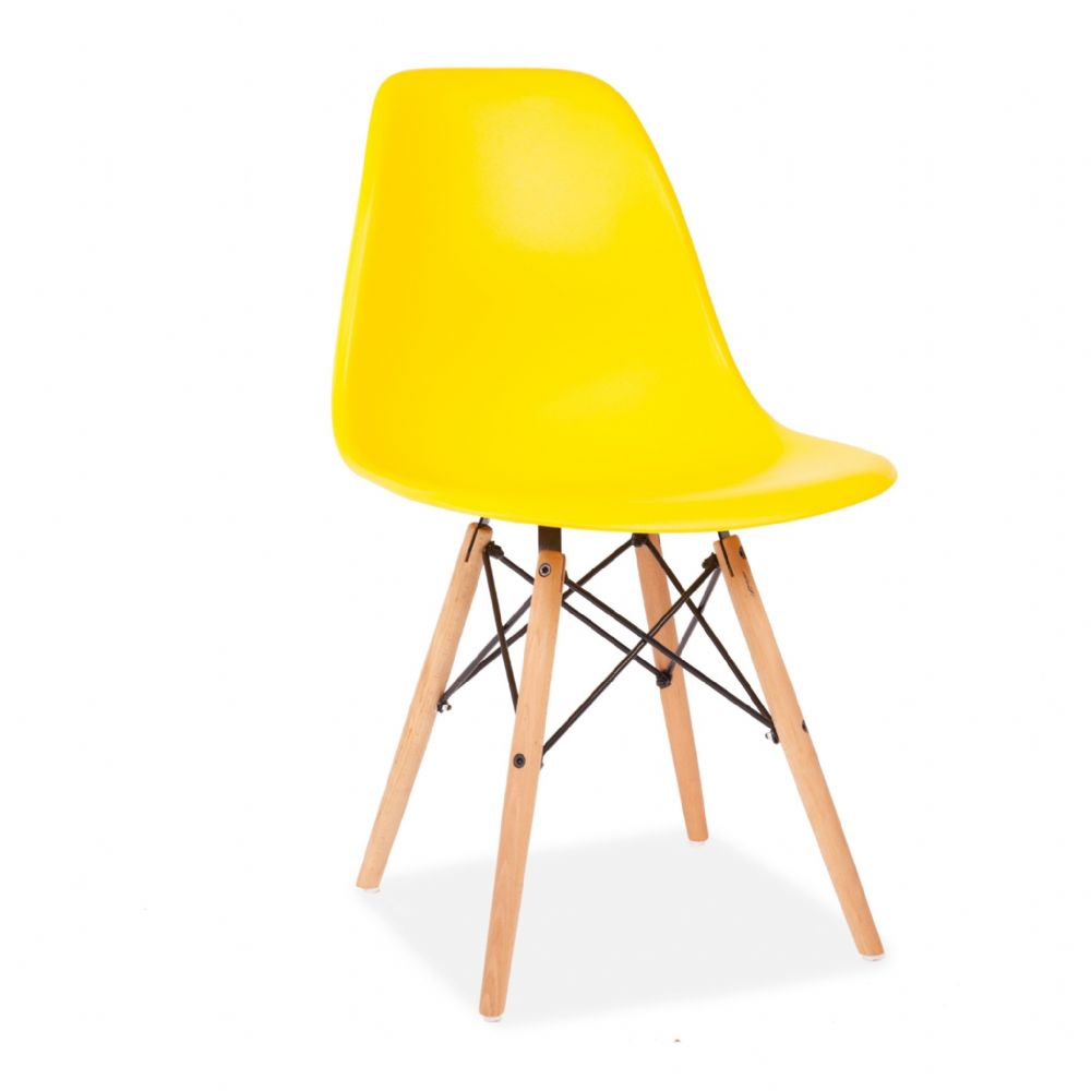 x4 Eiffel Style Plastic Dining Chair, Yellow